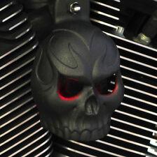 Evil Twin Horn Cover in Textured Black - Blue LED Eyes Harley 92' - Up & V-Rods.