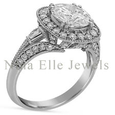 Diamond Halo Antique Style R86 Forever Brilliant Moissanite Engagement Ring With