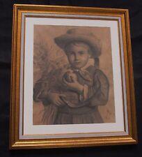 "Superbe dessin au fusain  de 1890 "" jeune garçon à la gerbe de blé """