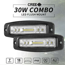 Pair 30W 7inch CREE Flush Mount LED Work Light Bar Combo Beam Reverse Fog Lights