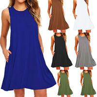 Women Short Dress Skirt Sleeveless Vest Dresses Loose Casual Sundress S-2XL