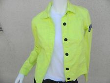HURLEY Jacket  Girls Womens Lightweight Denim Snap up Jacket Neon Yellow Sz- XS
