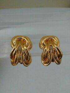 Vintage 80s Clip Ons Gold Tone Knot Costume Jewellery Clip On Earrings