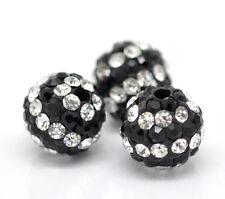 10 Perles Intercalaires Rond Strass Noir et Blanc Pour Bracelet Collier 10mm