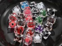 "100 Mixed Color Acrylic Concave Cube Beads 8X8mm ""Bead in Bead"""