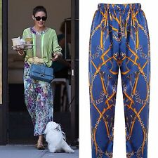 Rosavelt Boutique Marinero de impresión de seda pura Pantalones Pantalones Impreso Grande L