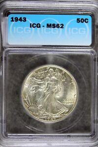 1943 - ICG MS62 Walking Liberty Half Dollar!! #B19275