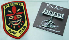 "1.5"" SPOONTIQUES PEWTER INTERNET SURFER PIN & 3.5"" PEEK SURF TEAM PATCH"