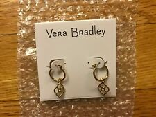 Vera Bradley Signature Charm Earrings in Gold Tone, New with Tags