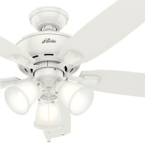 Hunter Fan 48 inch Casual Fresh White Indoor Ceiling Fan with Light Kit