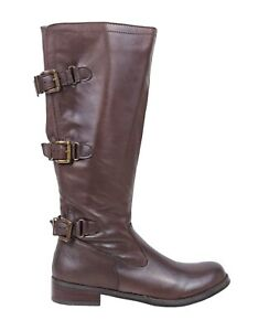 """Brown Color Leather Zipper Closure 1.5"""" Heels Womens Knee High Boots Size"""