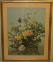 Rare Antique GEORGE LAMBDIN Still life ROSES & Butterfly PRANG CHROMOLITHOGRAPH