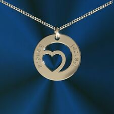 Anhänger rund mit  Herz, Inkl. Gravur, Silber 925, , Namenskette, Initiale