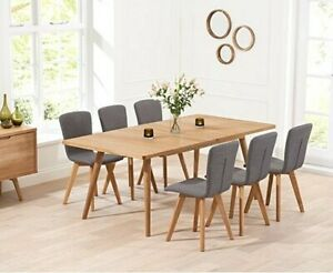 Oak Dining Table 150 Extending To 230cm + 6 Faux Leather Chairs