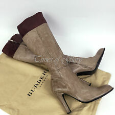 Burberry Ladies 2 Tone Grey Washed Leather Knee High Heel Boots Size 37.5 UK4.5