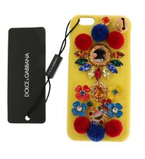 NEW $600 DOLCE & GABBANA Phone Case Cover Yellow Leather Crystal Pom Pom iPhone6