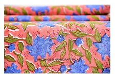 Indian Hand*Block Dressmaking Cotton Voile Fabric Craft Sewing By the 3 Yard`
