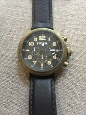 FOSSIL Vintage Bronze Chronograph Watch Black Leather Band DE5000