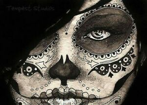 """SUGAR SKULL LADY B & W Edible Cake Topper 7.5"""" x 10"""" RECTANGLE Day of the Dead"""