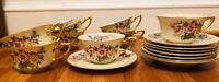 Rosenthal PHOENIX SET - Gold Trim Flat Cup & Saucer SET of 8 - Lot of 8