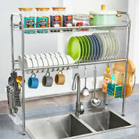 Dish Drying Rack Over Sink Display Drainer Kitchen Utensils Holder Silver