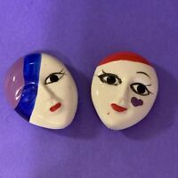 Vintage Button Covers Mardi Gras Face Masks       (e)