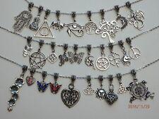 Tibetan Silver Pendant Charm on Silver Tone Necklace Chain - 30 styles - Aus.