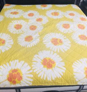 "Wamsutta Twin Sz 78"" X 109"" Bedspread Orange Yellow Floral Print Vintage USA"