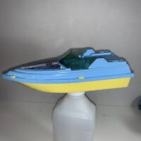 Vintage 1970s Tootsietoy Speed Boat Blue Yellow Made in USA With Sticker 8