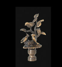 """BIRDS and TREE LAMP FINIAL ~ ANTIQUE Brass { 2 7/8"""" Tall } ~ #GB70"""