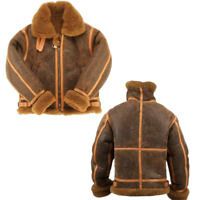 RAF Mens Brown Bomber Real Shearling Fur Sheep Leather Flying Aviator New Jacket