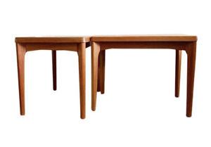Pair Of Designer Matching Midcentury Danish Teak Side Tables By Henning Jaernulf