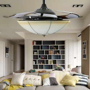 """42"""" LED Ceiling Fan Light Chandelier Lamp Retractable Blade American Style Lamp"""