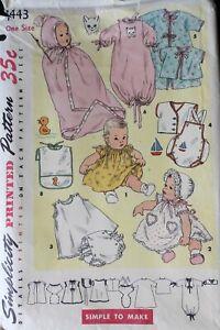 Vtg 1950s Simplicity 1443 Infant Baby Layette Dress Playsuit Bib SEWING PATTERN