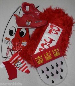 Köln Hut Kostüm Kölnkostüm Rot Weiß Stulpen Schmuck Kleid Kappe Schuhe Schal