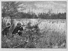 Hunting Shooting Waterfowl Ducks By A. B. Frost Indian Canoe Rice Lake Minnesota
