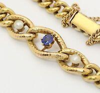 Saphir Armband in aus 14k 585 Gelb Gold mit Safir Perlen Armreif  Panzerarmband