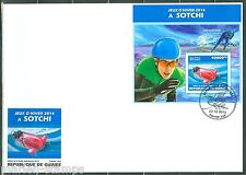 GUINEA   2014  SOCHI OLYMPIC GAMES    SOUVENIR SHEET  FIRST DAY COVER