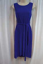 Donna Ricco Dress Sz 14 African Violet Sleeveless Belt Faux Wrap Career Cocktail