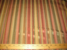 """COPPER/OLIVE/GOLD W/ GROSGRAIN RIBBONING UPHOLSTERY/DRAPERY FABRIC 58"""" W BT"""
