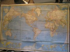 VINTAGE THE WORLD HUGE MAP National Geographic February 1965