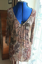 Per Una size 10 brown patterned crinkle chiffon Tunic top V neck 3/4 sleeve