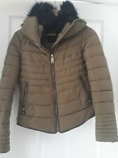 Zara green Puffa Jacket Quilted Coat Size small