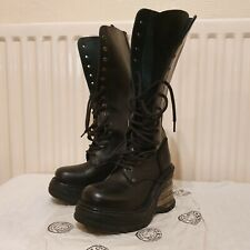 New Rock Leather High Boot Metallic Cuna Bandas Size 3UK