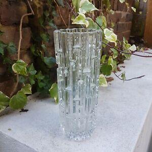 Vintage Geometric Maze Glass Vase Frantisek Vizner Sklo Union 60's Mid Century