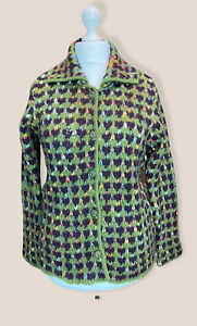 M & S Classic Chunky Collared Button Up Cardigan Green & Purple Mix Size 16 BNWT