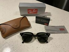 Ray-Ban RB3016 Clubmaster Classic W0365 Black Frame Green Sunglasses Polarized