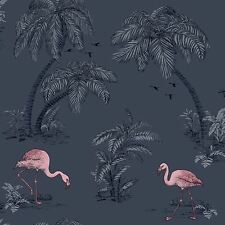 Flamingo Lake, Midnight Blue & Pink Flamboyant Tropical Wallpaper - 10m Roll