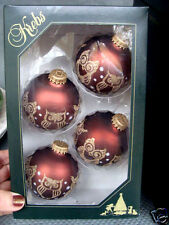 4 CHRISTMAS BY KREBS MUSTANG BROWN VELVET GOLD OWLS  CHRISTMAS ORNAMENTS #30