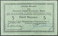 1915 German East Africa 5 Rupien Interims-Banknote, P-34a.